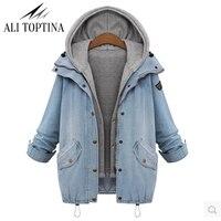 2017 Autumn Clothing Cowboy Vest Twinset Basic Coats Winter Women Denim Jacket Long Sleeve Loose Female