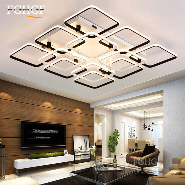 Moderne Led Deckenleuchte Quadratisch Decke Bndig Montiert Kreative Lampe Dimmbar Lustre Beleuchtung Fr Schlafzimmer Wohnzimmer