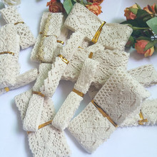 20 pcs/Piece mixed Knitted Cotton Lace Ribbon Beige Color DIY Handmade,Wedding Party/Craft & Gift Packing/Child Dress/Decoration
