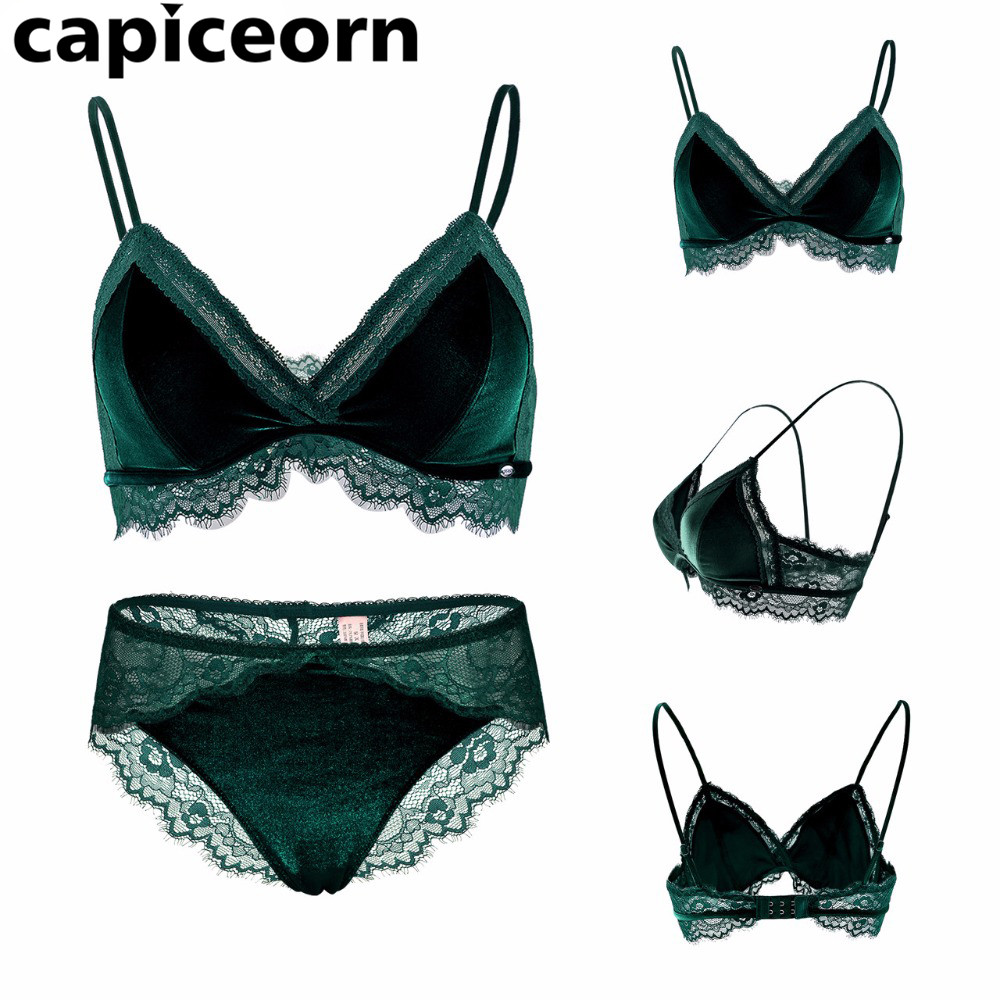 8732ae6b520c2 Dark Green Sexy Velvet Girl s Underwear 3 4 Cup Woman Unpadded Plunge Bra  Tow Hook