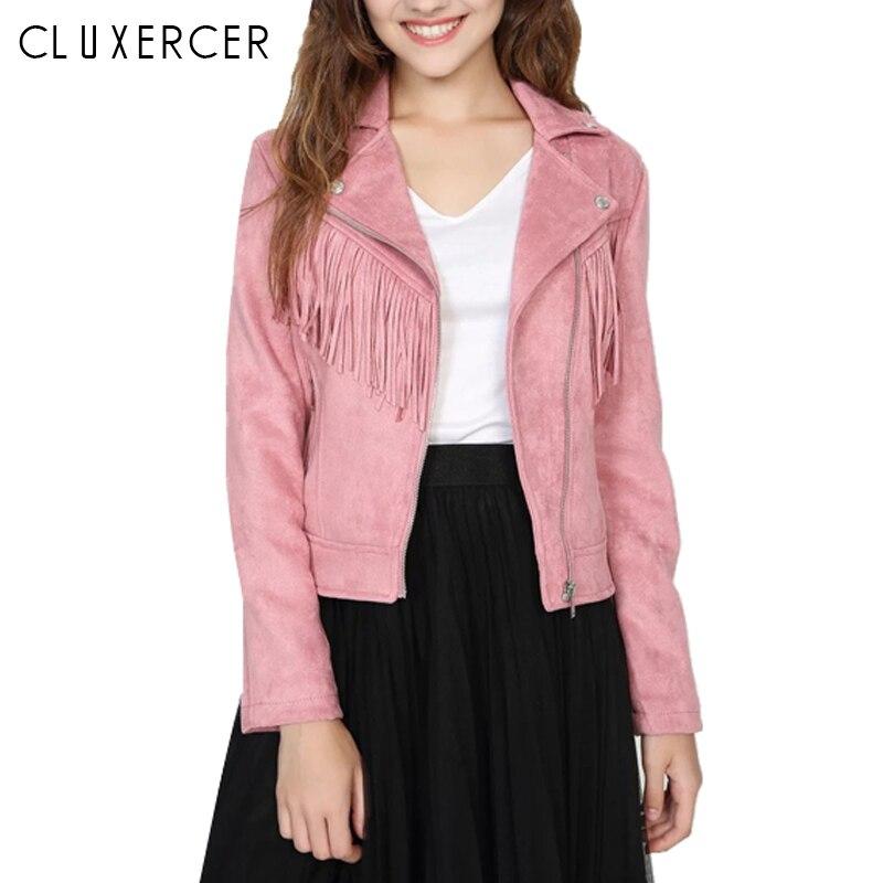 2018 Autumn Faux   Suede     Leather   Jacket Women Elegant Tassel Pink Biker Jacket Female Outwear Slim Short WInter   Leather   Jacket