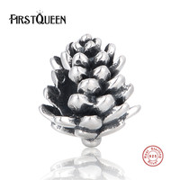 FirstQueen 925 Sterling Silver European Beads Christmas Pinecone Charms Fits Most Popular Bracelets Berloque Prata 925