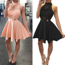 Pink Black Lace Hollow Out Backless Women Ladies Dresses Sexy Sleeveless Party Mini Pleated Dress Clothes Summer