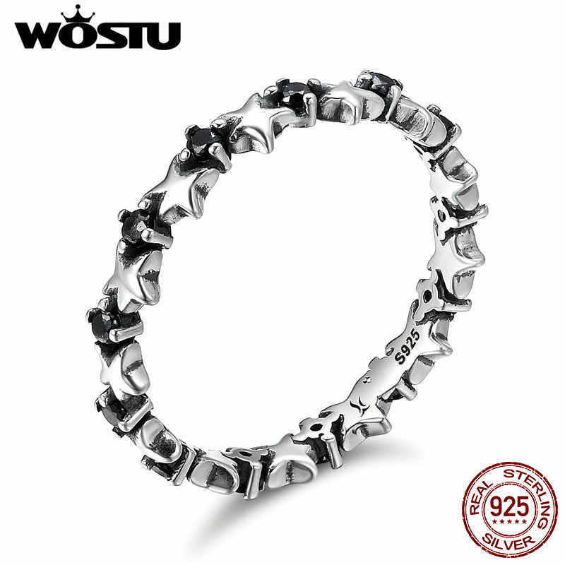 WOSTU Hot Sale Real 925 Sterling Silver Counting Stars Stackable Rings For Women Luxury S925 Silver Jewelry Gift CQR142
