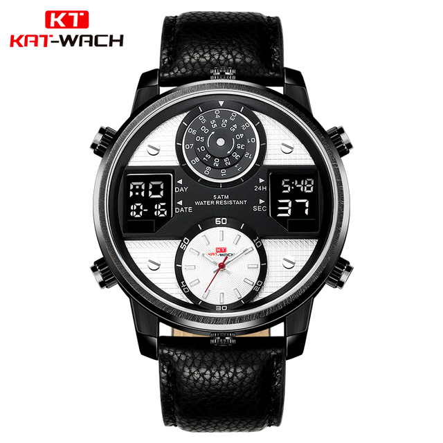 fc1c5f0314 US $21.29 34% OFF|KAT WACH Men Watch Analog LED Digital Watches Clock  Leather Creative Small Pointer Dial Waterproof Wristwatch Relogio  Masculino-in ...