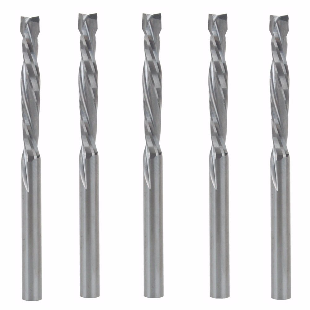5PCS 3.175x22mm UP & DOWN Cut Two Flutes Spiral Carbide Mill Tool Cutters For CNC Router, Compression Wood End Mill Cutter Bits