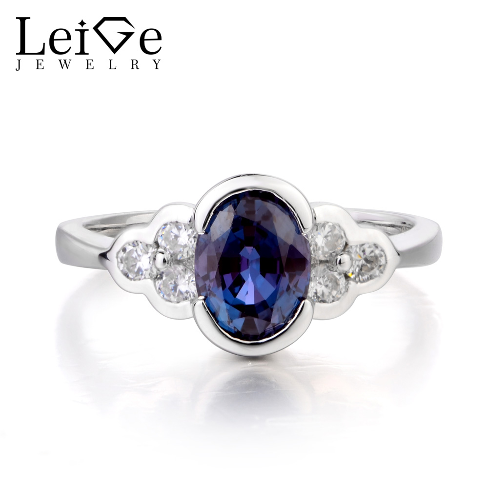 Leige Jewelry Promise Ring Alexandrite Ring Oval Cut Gemstone June Birthstone Bezel Setting Ring 925 Sterling Silver for WomenLeige Jewelry Promise Ring Alexandrite Ring Oval Cut Gemstone June Birthstone Bezel Setting Ring 925 Sterling Silver for Women