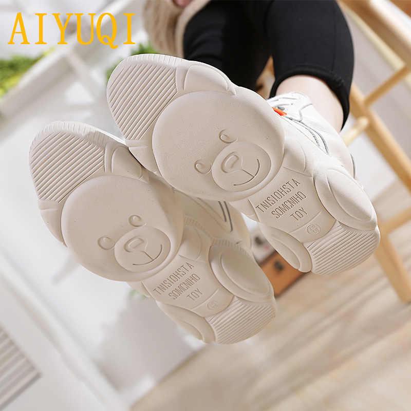 AIYUQI kadın ayakkabı 2019 bahar kadınlar düz çizmeler hakiki deri dantel beyaz ayakkabı kadın vulkanize ayakkabı kadınlar için Sneakers