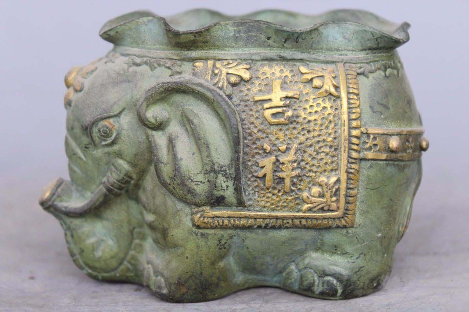 Marked Chinese Feng Shui Bronze Gilt Elephant Auspicious Lucky Pot Jar CrockMarked Chinese Feng Shui Bronze Gilt Elephant Auspicious Lucky Pot Jar Crock