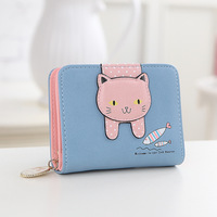 Women Cute Cat Wallet Small Zipper Girl Wallet Brand Designed Pu Leather Women Coin Purse Female