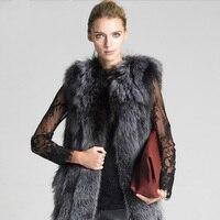 Hot silver Real Fox Fur Vest Winter Women Casual Warm Ladies Fur Coat bayan ceket long Sleeveless Fur Jacket Outerwear Clothing