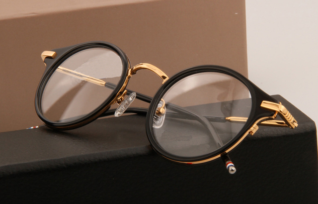 f33620cc347 Brand Full-rim Eyeglasses Round Frame Vintage Acetate Optical Glasses Frame  Women Men Computer Eyeglasses