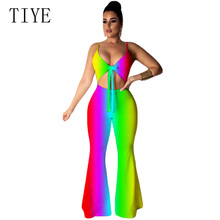 TIYE Rainbow Tie Dye Gradient Sexy Up Jumpsuits Backless Summer Rave Festival Neon Hollow Out Rompers Womens Jumpsuit