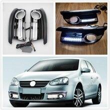 Для VW Jetta 5 A5 Mk5 2006 2007 2008 2008 2010 2011 передней крышки противотуманных фар ободок Led DRL Габаритные огни с жгутом проводов