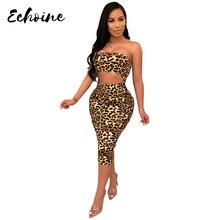 Echoine Sexy Strapless Snakeskin Print Sheath Women Summer Dress Vintage Sleeveless Cutout Midi Bodycon Dresses Vestidos