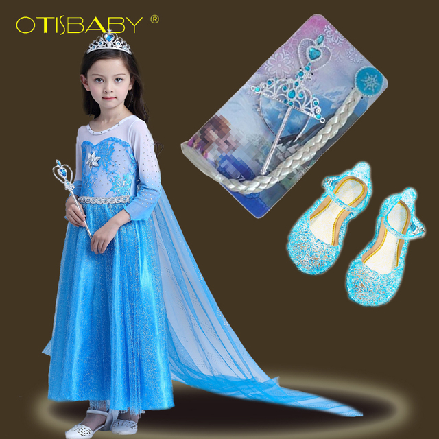 5a07936c5f US $11.7 25% OFF|Girls Snow Queen Costumes Elsa Anna Princess Dresses  Carnival Halloween Christmas Party Mesh Cloak Cosplay Fantasy Crystal  Shoes-in ...