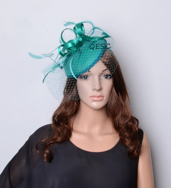 Wholesale jade green Ladies bridal fascinator Felt Fascinator with Satin  Loops and Feathers for wedding races c0bc6ffbc7a