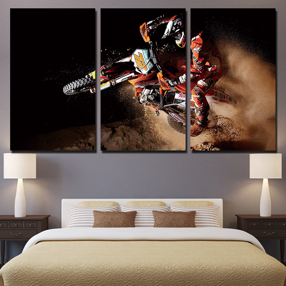 JIE DO ART Canvas Paintings For Living Room Wall Art Prints Motorcycle Posters 3 Pieces Sports Motor Pictures Framework Home image