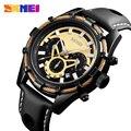 Спортивные мужские часы SKMEI  водонепроницаемые кварцевые часы с кожаным ремешком  3 бар  9189