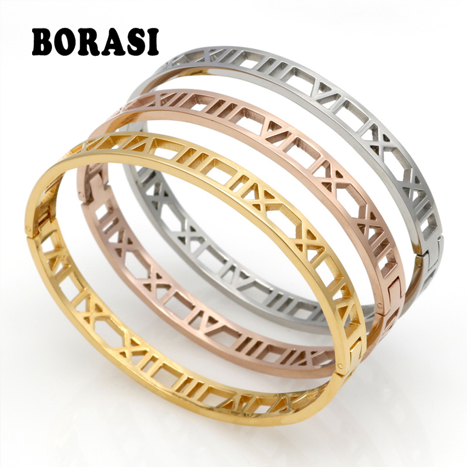 Delicate Hollow Roman Numeral Bracelets & Bangles Titanium Steel Bangle Fine Jewelry For Women Jewelry Pulseiras Top Quality bangle