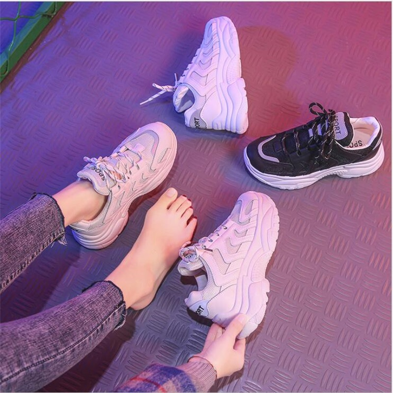 2019 Breathable Mesh Women Casual Shoes Vulcanize Female Fashion Sneakers Lace Up High Leisure Footwears 11 11 in Women 39 s Vulcanize Shoes from Shoes