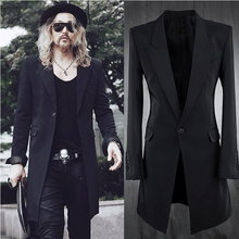 Mens lapel collar slim fit long blazer jacket one button coat suit black y45 недорго, оригинальная цена