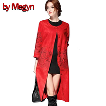 by Megyn M-XXXL Cashmere Floral Embroidery Trench Coat Long Outwear 2017 Spring Autumn Plus Size Women Clothing  XXXL 5A77