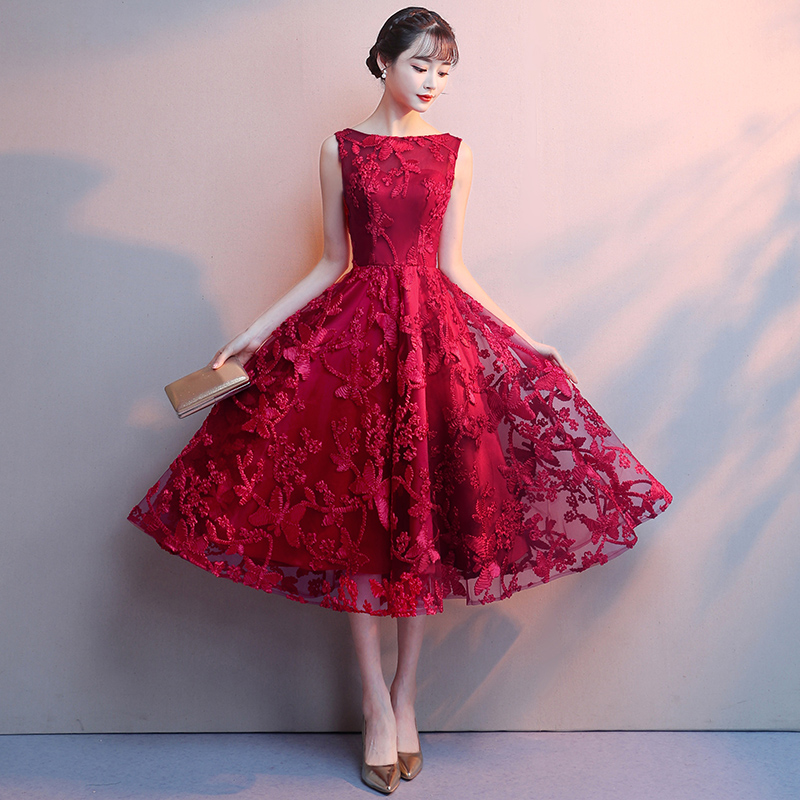 Red Lace Prom   Dresses   2019 New Boat Neck Sleeveless A-Line Tea-lenth Midi Evening   Dress   Elegant Lace Short Party   Cocktail     Dress