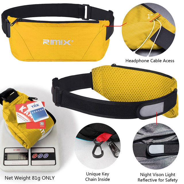 IDOGEAR Running Waist Bag Trail Waist Pack Fanny Pack Adjustable Hiking Sports YKK Waterproof Running waist belt bags BG3503