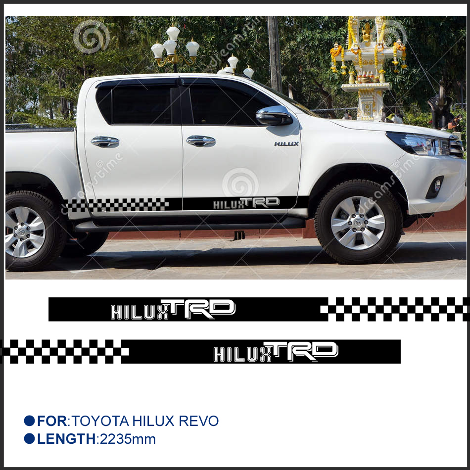 2 PC hilux HILUX chequered racing side stripe graphic Vinyl sticker for TOYOTA HILUX decals 2 pc hilux hilux chequered racing side stripe graphic vinyl sticker for toyota hilux decals