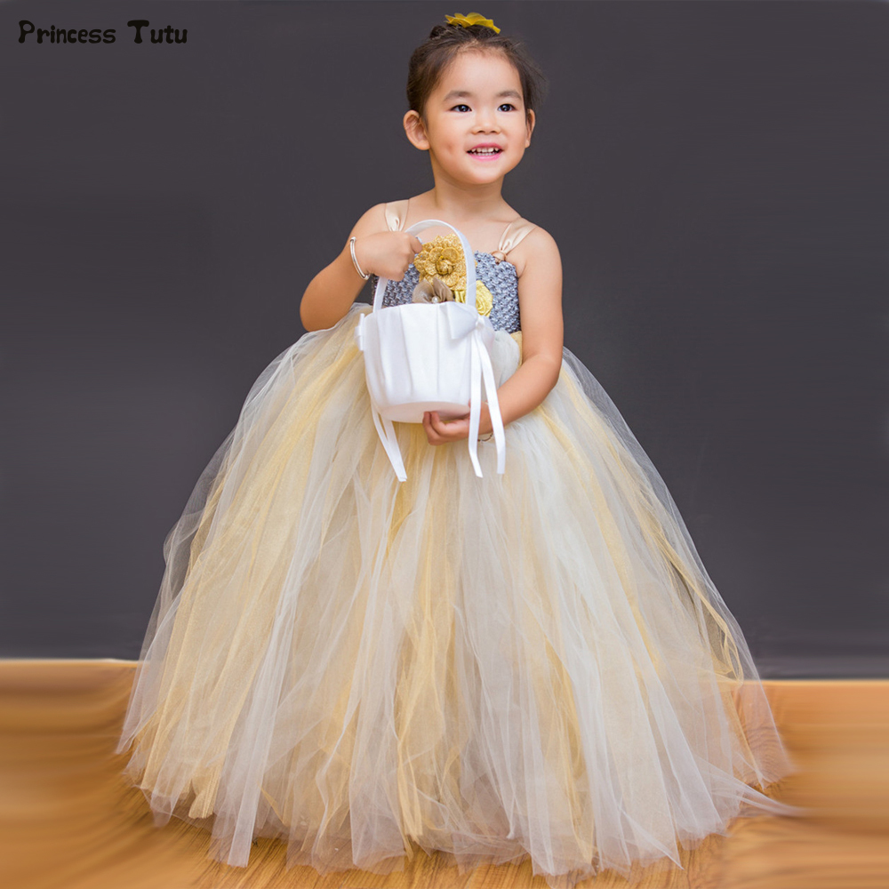 Kids Girls Wedding Flower Girl Dresses Princess Ball Gown for Girls Pageant Party Tutu Dress Children Sleeveless Tulle Dress