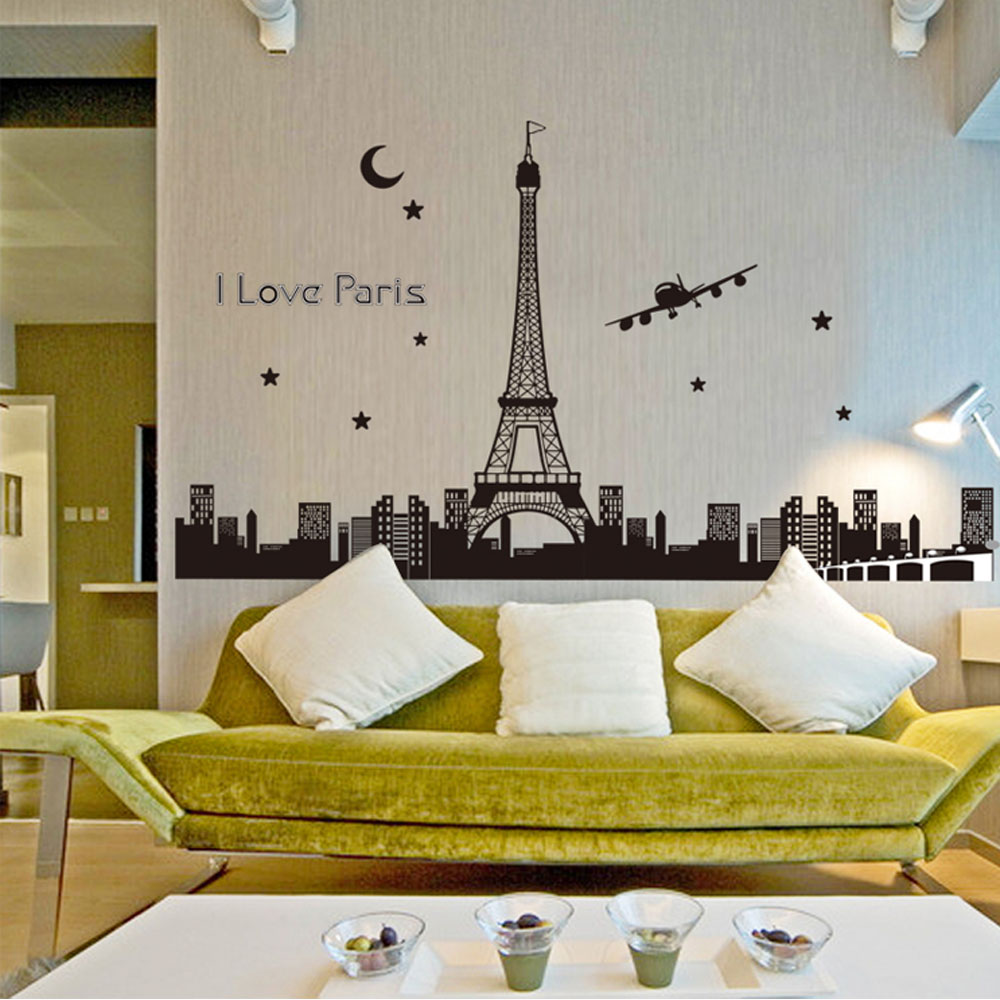 US $6 71 Night Sky Eiffel Tower Moon Star City Building View Paris Noctilucent DIY Wall Wallpaper Stickers Art Decor Mural Room Decal Wallpaper