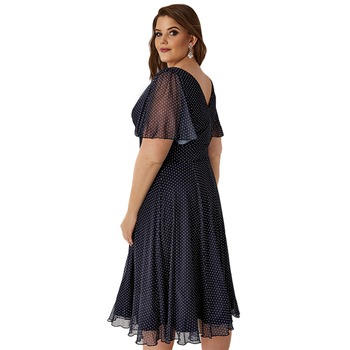 Kissmilk Plus Size Women Office Lady Casual Dot Print Deep V Neck Short Sleeve High Waist  Wrinkle Hem A Line Midi Dress 2