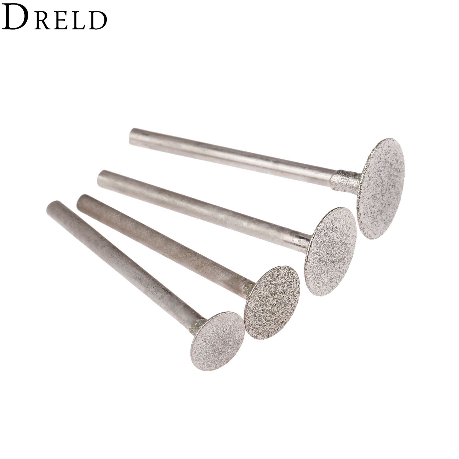 DRELD 4Pcs Dremel Accesories 3mmShank Diamond Mounted Point Grinding Head Stone Jade Carving Polishing Engraving Tools