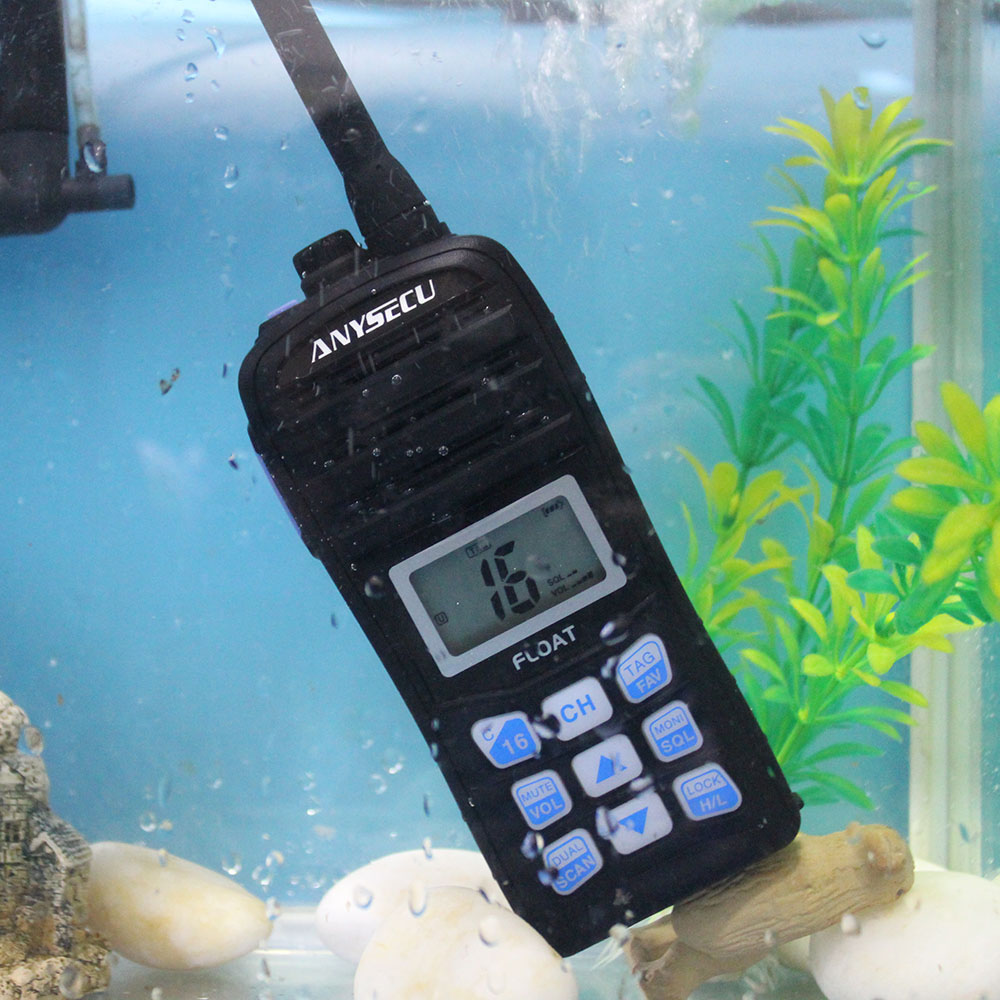 ANYSECU VHF Marine Radio IC-H25 IP67 Waterproof International Channel Weather Channel Float Walkie Talkie Auto Scan 2 Way Radio