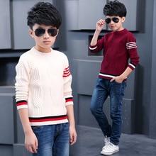 Фотография Boys Sweaters Striped O Neck Shirt Kids Knitwear Vestido Infantil Child Autumn Knitted Clothes Casual Kid Clothing Boys Cardigan