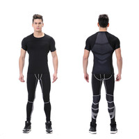 2017 High Elastic Compression Sports Suit Men Running Sets Quick Dry Basketball Tights Sports Jogging Gym