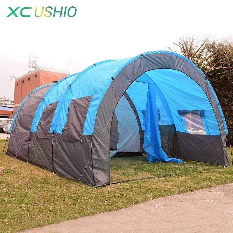 480x310x210 ซม.อุโมงค์เต็นท์ 5-8 คนครอบครัวขนาดใหญ่เต็นท์สำหรับ Camping กลางแจ้ง party กันฝน 4 เต็นท์ 10 กก