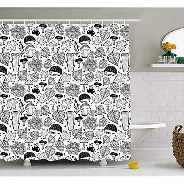 Vixm Hedgehog Shower Curtain Ecological Nature Elements Woodland Pattern Black And White Doodle Composition Fabric Bath