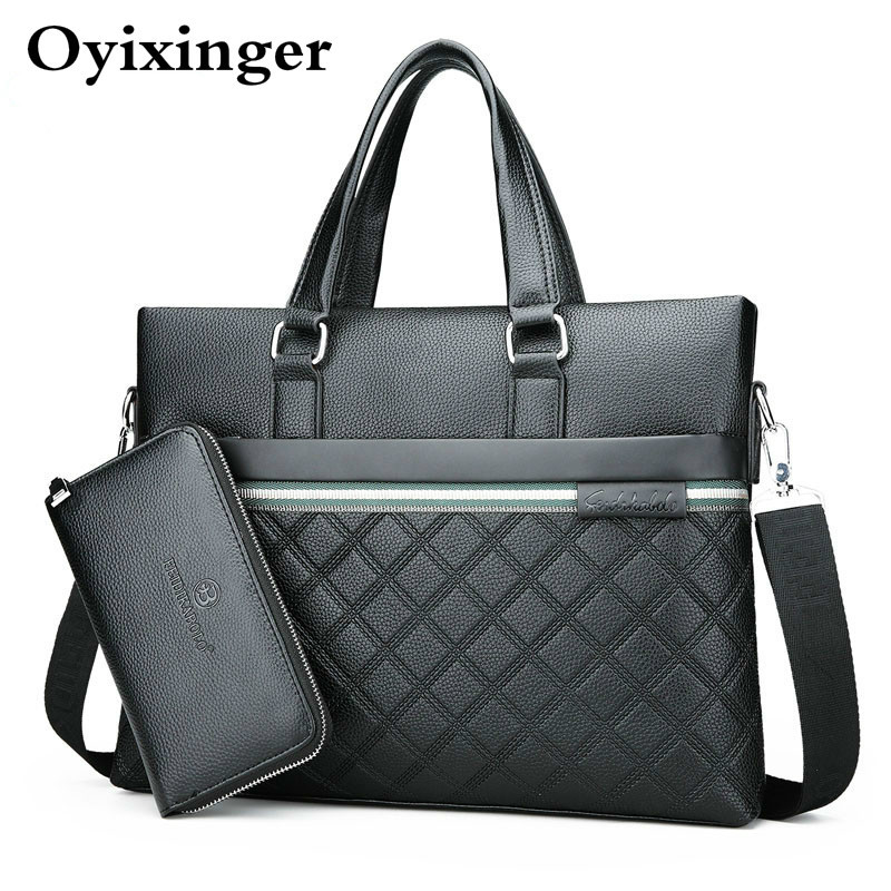 Casual Business Men Shoulder Bags Classic Plaid Design Business Bag Men's Messenger Leather Bag For Man Black Briefcase Maletas