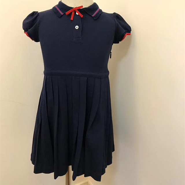 97edabbbf9df New Puff Sleeve Dress for Baby Girls Clothing Navy Blue Dress Summer ...