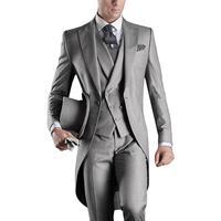 Italian men tailcoat gray wedding suits for men groomsmen suits 3 pieces groom wedding suits peaked lapel men suits Custom made
