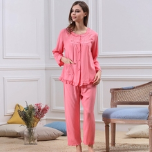 Women Summer Fashion Cotton Loose Solid Color Cardigan Long Sleeve Shirt Ankle-Long Pant Pajama Set Red Pyjama R Cute Homewear