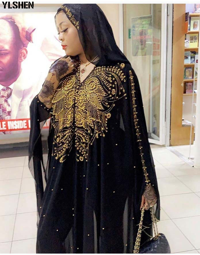 Dashiki African Dresses for Women 2019 New African Clothes Diamond Beads Abaya Dubai Robe Evening Long Muslim Dress Hooded Cape 03