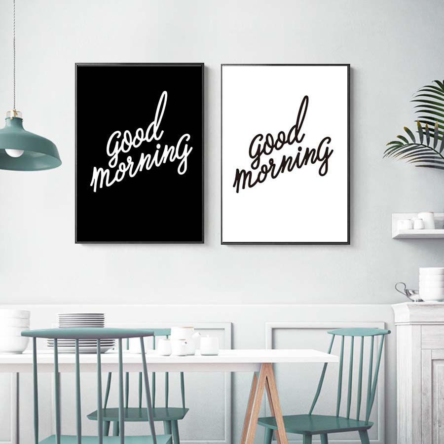 Good Morning Poster Black And White Modern Minimalist