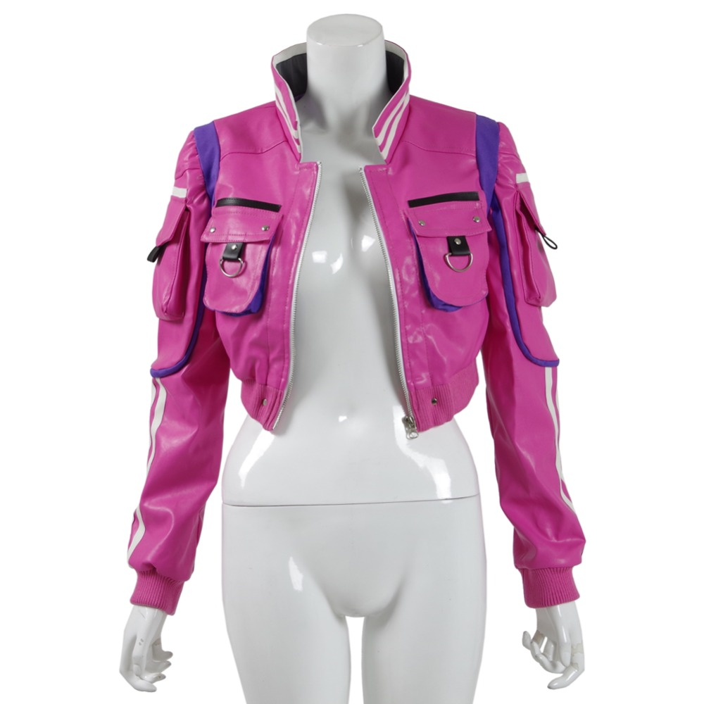 Final Fantasy FF15 Cindy Aurum Cosplay Costume Pink PU Jacket Women Coat Cosdaddy