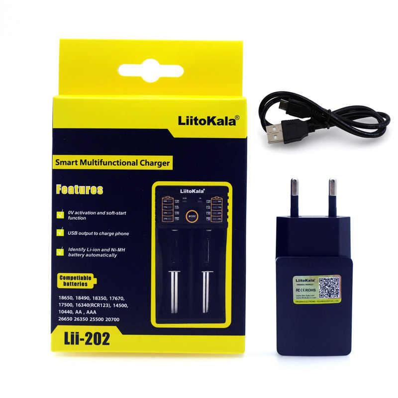 Liitokala Lii-100 202 402 1.2 فولت 3.7 فولت 3.2 فولت aa aaa 18650 18350 26650 10440 14500 16340 25500 نيمه بطارية ليثيوم الذكية شاحن