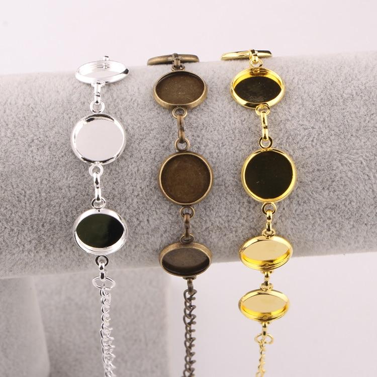 все цены на onwear 5pcs copper 12mm cabochon bracelet settings silver plated diy bracelets cameo bezel blanks