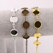 onwear 5pcs copper 12mm cabochon bracelet settings silver plated diy bracelets cameo bezel blanks