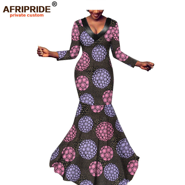 2019 african  maxi dresses for women AFRIPRIDE tailor made three quarter sleeves floor length mermaid batik party dress A1925027